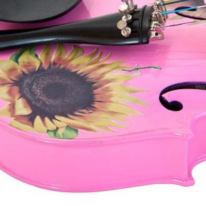 SUNFLOWER DELUXE PINK 4/4 METALLIC BRONZE DETAIL, CRYSTAL ON TAILPIECE, D'ADDARIO STRINGS